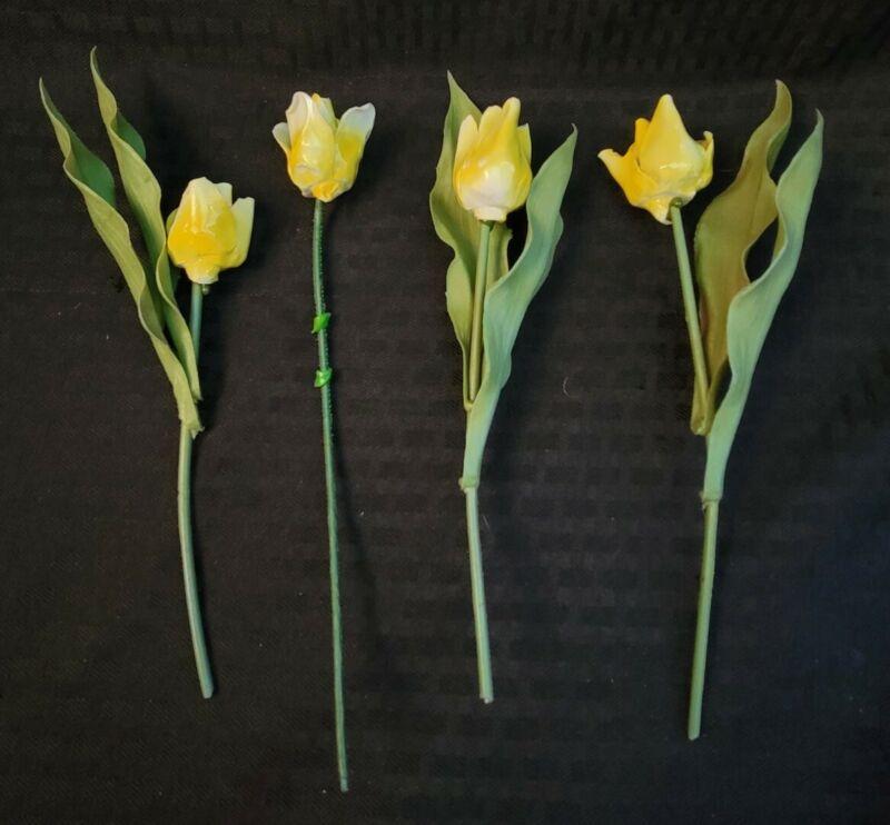 Vintage Bone Flower Porcelain China Stemmed Yellow Buttercup Tulip  Daffodil lot