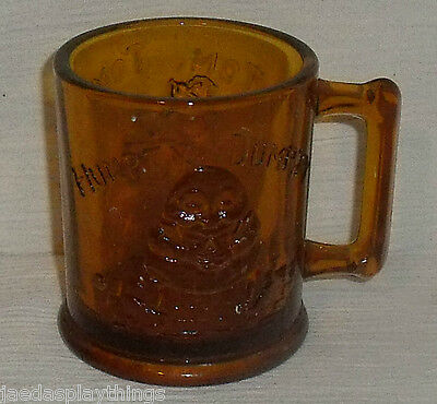 Amber Glass Mug Cup Humpty Dumpty Tom Pipers Son Indiana Tiara Vtg 3.5""
