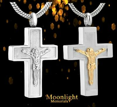 New Jesus on the Cross Christian Cremation Urn Keepsake Ashes Memorial Necklace
