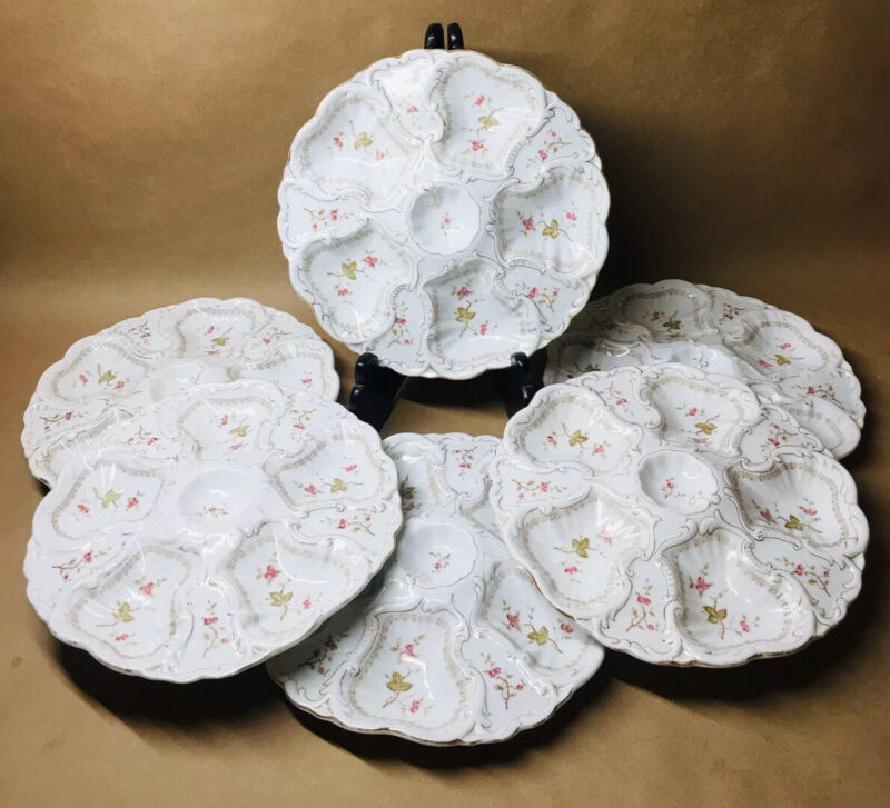 SET OF SIX VICTORIAN MARX & GUTHERZ CARLSBAD HAND PAINTED AUSTRIAN OYSTER PLATES