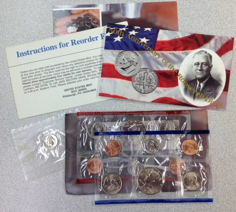 """1996 U.S.  Mint Uncirculated Coin Set, 11 Coin Set - P&D,""""W"""" Dime Included"""