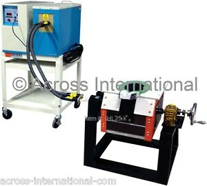 25KW Induction Heating Melting Furnace 1-20KHz with Tilt-Pour Graphite Crucible