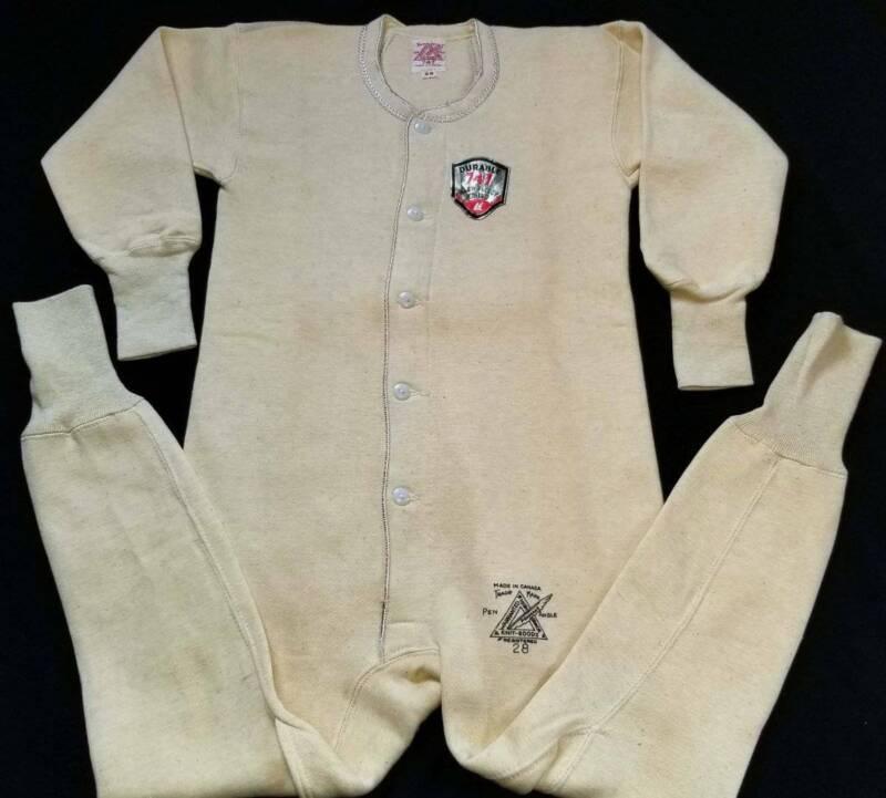 PENMANS Vtg 1950s Boys Dbl Fleece Union Suit Thermal Long John Back Panel NOS 10