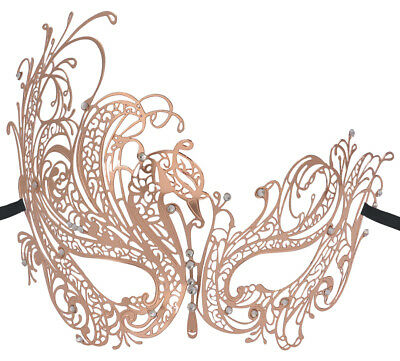 Pretty Metal Filigree Venetian Masquerade Face Mask with Rhinestones Rose Gold