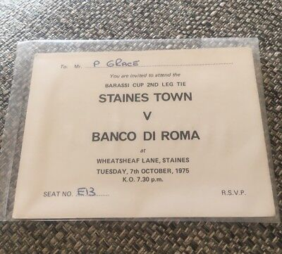 1975 BARASSI/ANGLO ITALIAN CUP VIP TICKET (STAINES TOWN V BANCO DI ROMA) 7-10-75