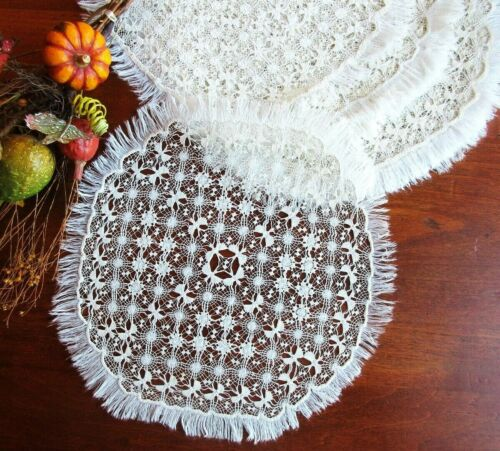 RARE Antique Handmade Placemat Set: UNUSUALLY FINE DRAWN-THREAD SPANISH LACE