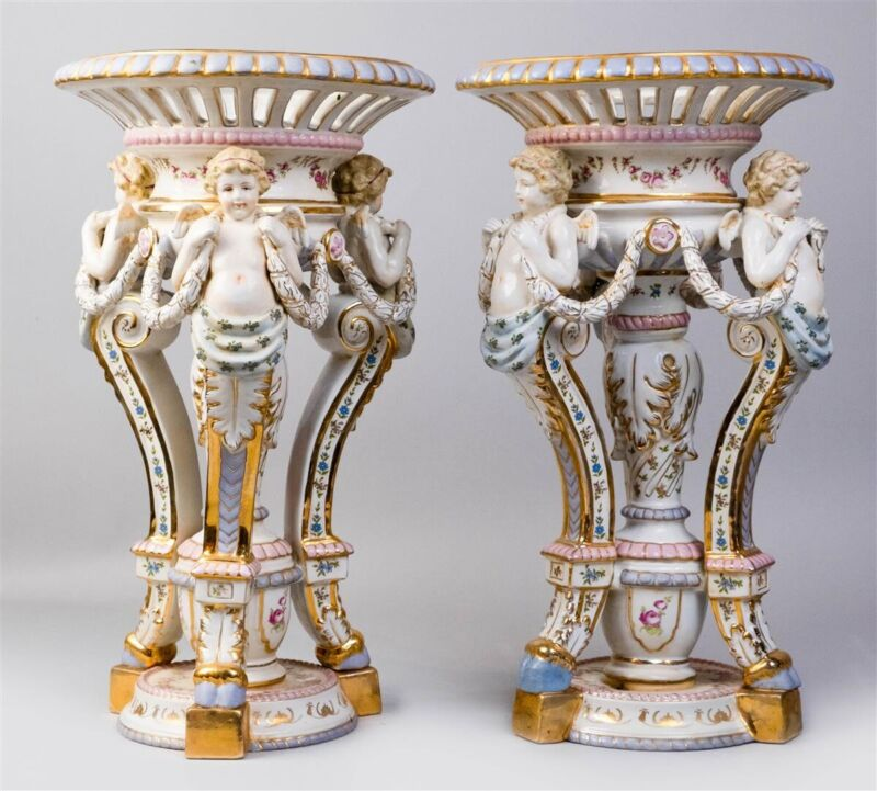 PAIR OF CONTINENTAL PARCEL-BISCUIT PORCELAIN RETICULATED BASKETS