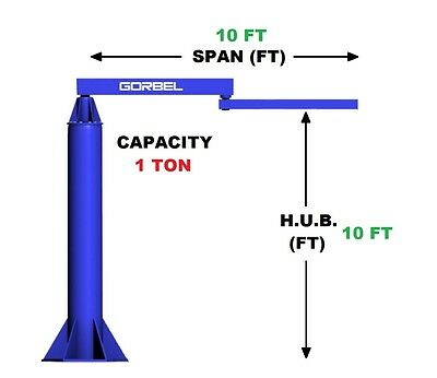 Gorbel Articulating Jib Crane - 1 Ton Capacity Span 10 Ft Hub 10 Ft