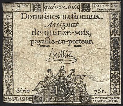 Frankreich / France - Assignaten - 15 Sols 1792 Pick A54 (4)