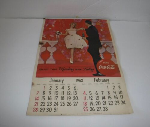 Vintage Coca Cola 1962 Coke Calendar Advertising Wall Hanging