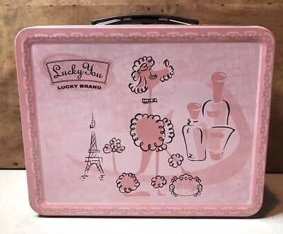 Lucky You Brand Pink Poodle Dog Paris Eiffel Tower Metal Lunch Box Nice! Rare!