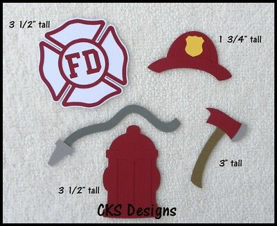 Fireman Hat Craft (Die Cut Firefighter Maltese Axe Hat Hydrant Fire Scrapbook Paper Piecing)