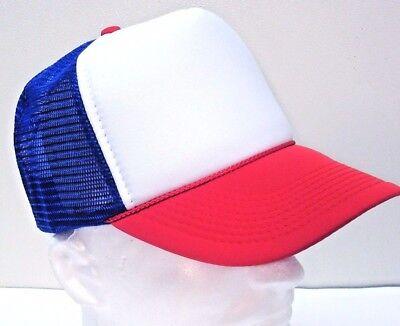 STRANGER THINGS Red White Blue Hat Trucker Cap 80s Adjustable Mesh Dustin ()