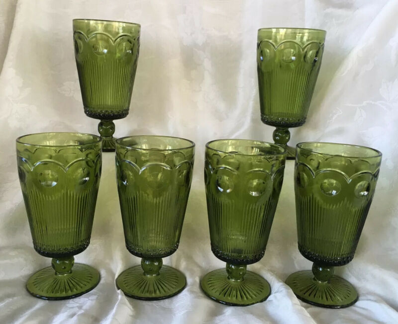 Set Of 6 Vintage Bartlett Collins Manhattan Green Glass Iced Tea Footed Tumblers