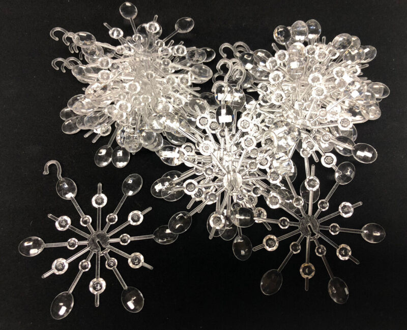 Vintage Lot Of 24 Plastic Clear Snowflake Ornaments