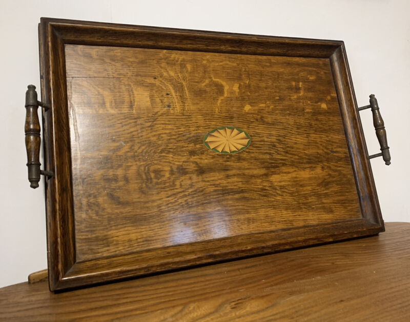 Antique FINE EDWARDIAN INLAID SERVING BUTLERS TRAY