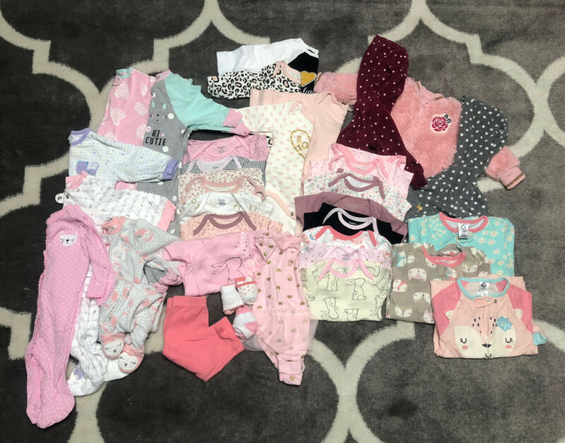 Baby Girl 3-6 Months Mix Lot 30+ Pieces Bodysuits Pants Socks Pajamas Jackets