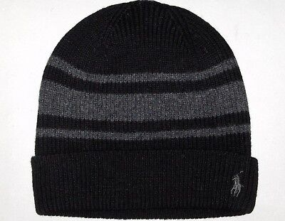 POLO RALPH LAUREN Mens Wool Cashmere Rugby-Stripe Beanie Skull Ski Cap Hat BLACK Rugby Stripe Beanie