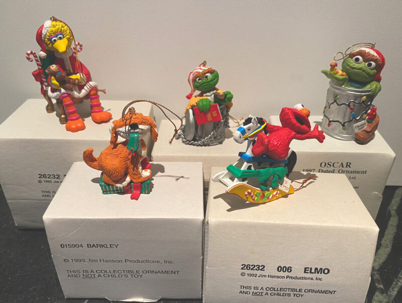 Jim Henson Characters Ornaments ~ By Grolier ~ Lot of Five ~ Original Boxes