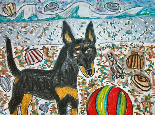 TOY MANCHESTER TERRIER Beach Party Nautical Dog Vintage Art Print 8 x 10 Signed