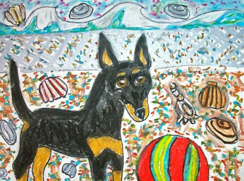 ACEO MANCHESTER TERRIER Beach Party 2.5 x 3.5 Print Art Trading Card DOG ART