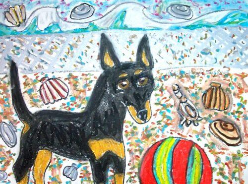 MANCHESTER TERRIER Beach Party 4 x 6 Print DOG ART Card