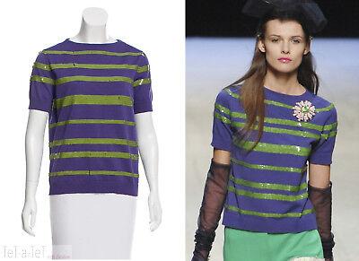 NWT LOUIS VUITTON Purple Green Sequin Knit TOP M/L FR-38
