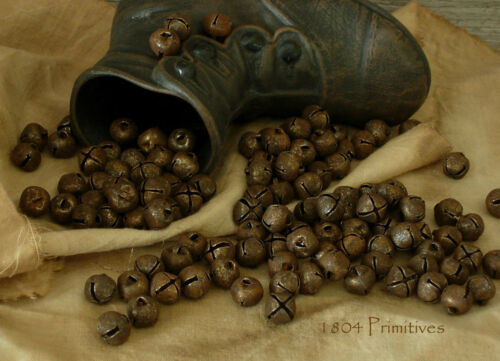"144 Primitive Rusty Tin 3/8"" Jingle Bells 10mm ~ Crafts"