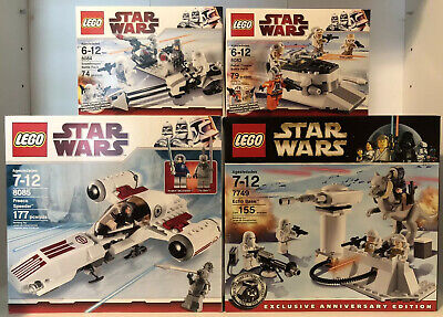 Lego Star Wars 4 Lot Set 8083, 8084, 8085, 7749 New & Sealed Retired Snow Sets