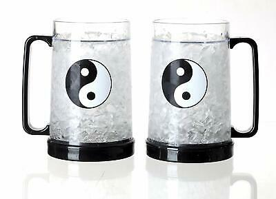16oz 2 Set Of Double Wall Gel Frosty Freezer Ice Mug Clear Ice Yin and Yang
