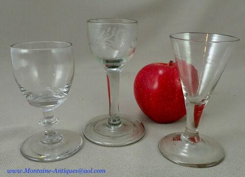 Three 18th cent Free Blown Wine Glasses