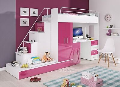 Etagenbett Hochbett Felix Hochglanz Weiss Rosa 2 x Bett Schrank Schreibtisch (Etagenbett Schlafzimmer-sets)