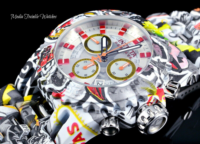 NEW 50MM Invicta Mens Chaos GRAFFITI Hydroplated Swiss Quartz Chronograph Watch