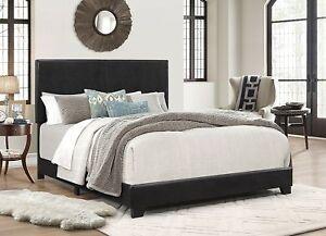76e5c829d1a9 Queen Size Faux Leather Platform Bed Frame Slats Upholstered ...