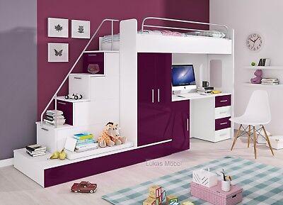 Etagenbett Hochbett Felix Hochglanz Kinderbett Schrank Schreibtisch Farbauswahl (Etagenbett Schlafzimmer-sets)