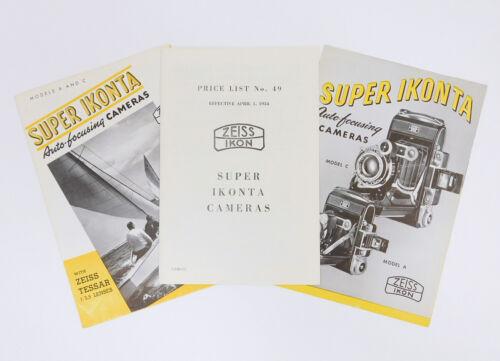 3 VINTAGE ZEISS IKON SUPER IKONTA BROCHURES & PRICE LIST ADVERTISING PAMPHLETS