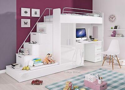 Etagenbett Hochbett Felix Hochglanz Weiss 2 x Bett Schrank Schreibtisch (Etagenbett Schlafzimmer-sets)