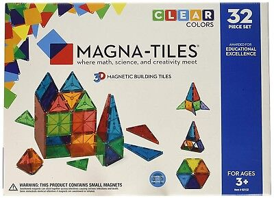 Building Toys (New in Box Magna-Tiles 02132 Clear Colors 32 pc DX Magnetic Toy Building Set)