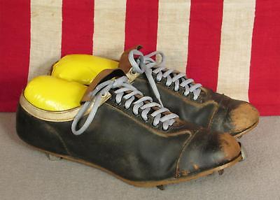 Vintage 1950s Schwarzes Leder Baseball Nocken Kannen Zehenkappe Sz 10.5 ()