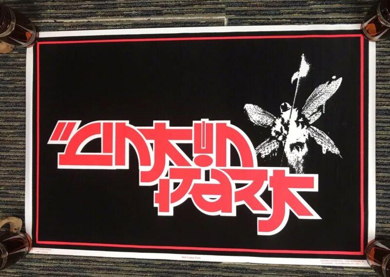 """Vtg 2001 Linkin Park Asian Inspired Flocked Blacklight 23""""x35"""" Poster Winterland"""