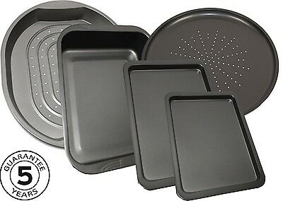 Set Of 5 Oven Trays Non Stick Bakeware Cooking Baking Roasting Flat Bake Tins