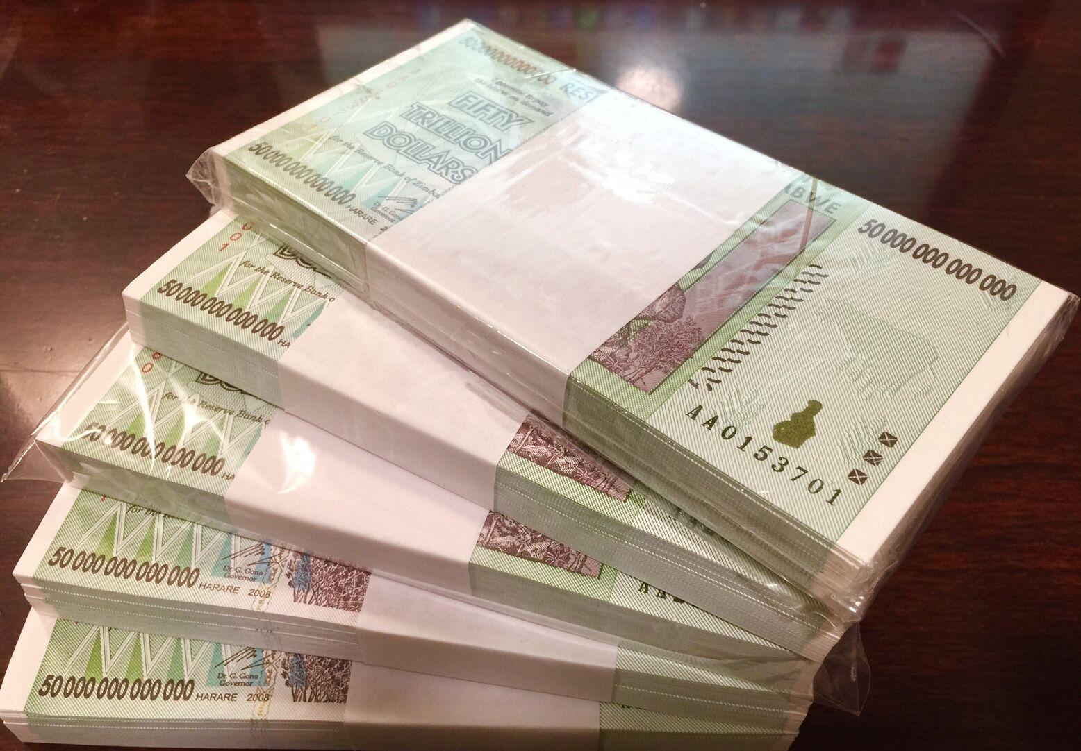 ZIMBABWE 50 TRILLION ZIM DOLLARS 2008 AA P90 UNC 100 NOTES UV INSPECTED WITH COA