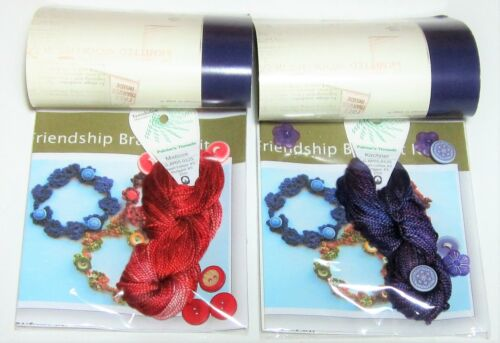 Lot of 2 CROCHET BUTTONED Friendship Bracelet Kits RED and PURPLE