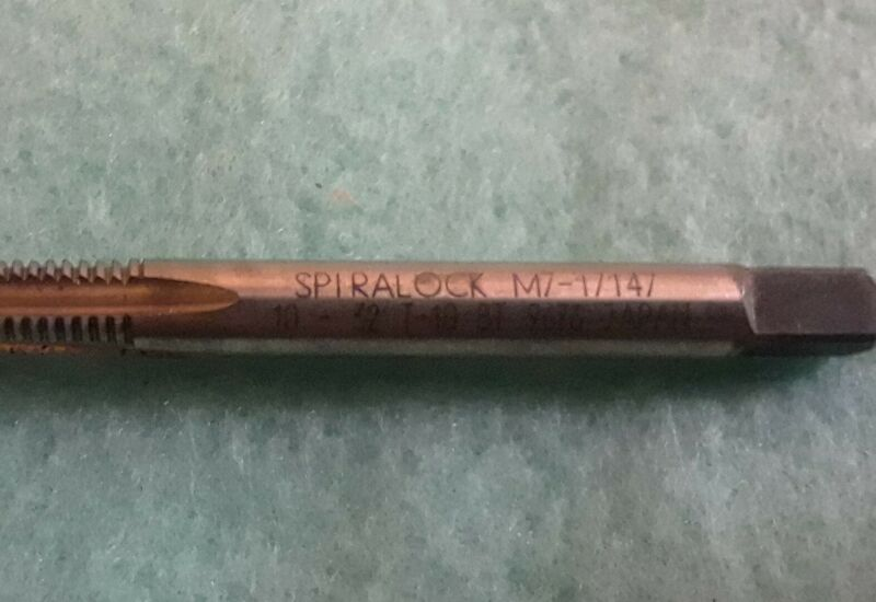 10-32 TPI UNF Spiralock Vanadium Alloy HSS Hand Tap Bottom Chamfer