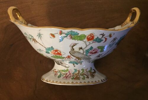 Antique 19th c. Porcelain Tazza Fruit Bowl Centerpiece Mason