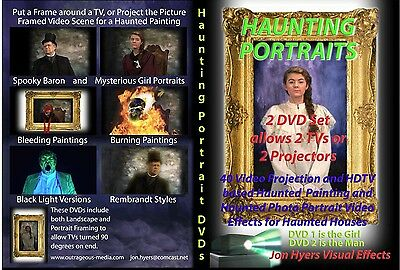 HAUNTING PORTRAITS and Giant Spiders Halloween Video Projection DVDs (Halloween Projection Movies)