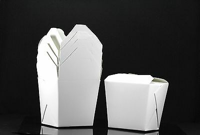 100x, 8oz Chinese Take Out / To Go Boxes, Microwavable, Party Gift Boxes, White