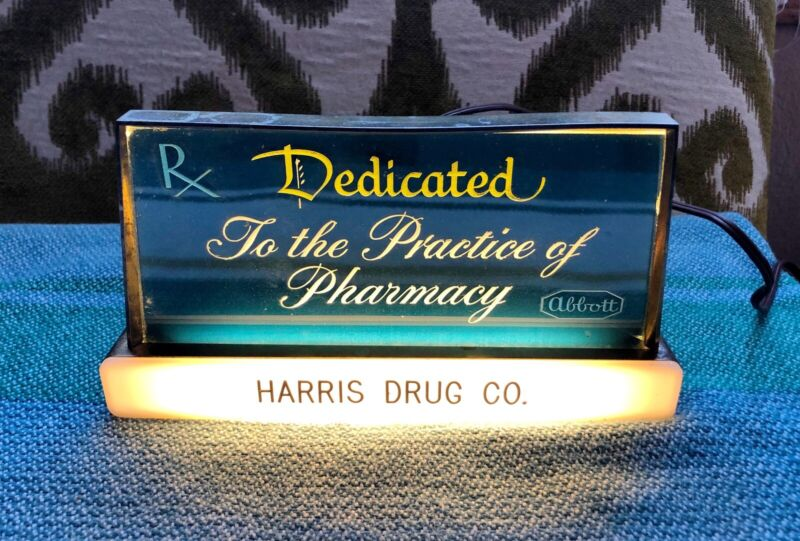VINTAGE HARRIS DRUG CO LIGHTED SIGN - Dedicated To The Practice Of Pharmacy