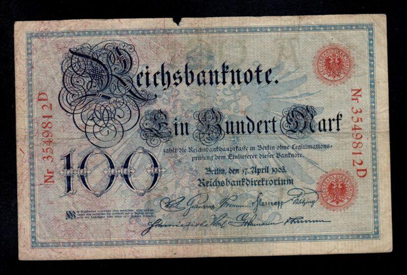 GERMANY 100 MARK 1903 PICK # 22 FINE.