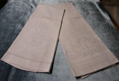 Antique 2 Nubby Linen Towels Floral Patterns Hemstitched